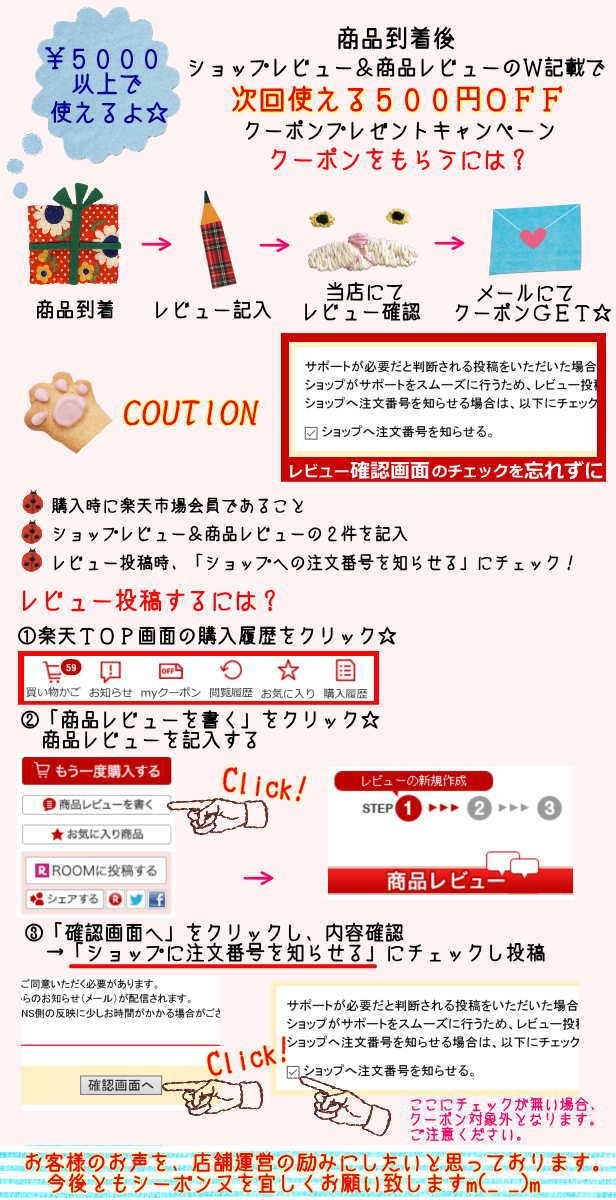 ショップレビュー&商品レビューW記載詳細内容