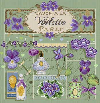 フランス発、Madame La Fee のクロスステッチキットSavon a la Violetteの写真