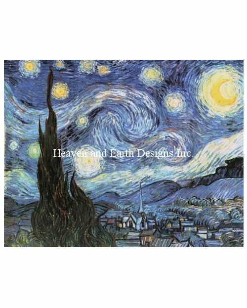 Vincent Van Gough(フィンセント・ファン・ゴッホ) 名画 【星月夜-Starry Starry Night VV-】 絵画 美術 芸術作品 クロスステッチ刺しゅうチャート HAED Heaven And Earth Designs 図案 クロスステッチ手芸雑貨シーボンヌ 刺繍 専門店 通販 販売 サイト