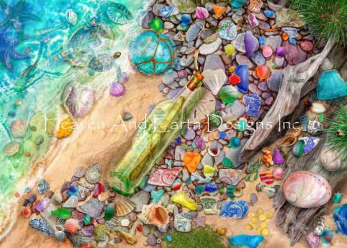 HAED クロスステッチ刺繍チャート 図案 Heaven and Earth Designs【Beach Combers Bounty】 Aimee Stewart