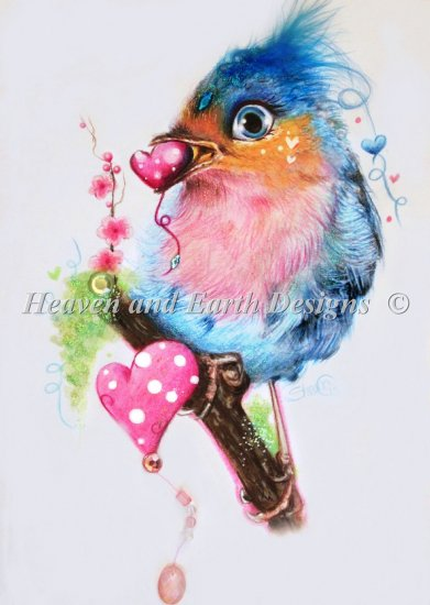 アメリカ発、Heaven And Earth Designs(HAED)の絵画のようなクロスステッチチャートLove Birdの写真