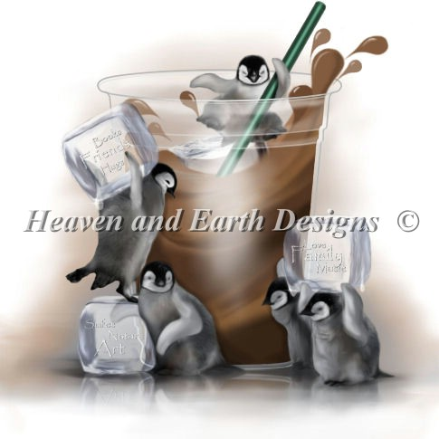 Heaven And Earth Designs (HAED) クロスステッチ刺繍 図案 輸入 ペンギン Smiles in My Cup 上級者 クロスステッチ手芸雑貨シーボンヌ 刺繍 専門店 通販 販売 サイト