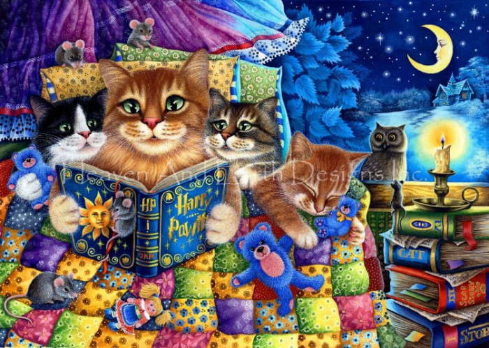 Heaven And Earth Designs(HAED) クロスステッチ刺繍 図案 輸入 猫の読書 Cats Reading 全面刺し 上級者 クロスステッチ手芸雑貨シーボンヌ 刺繍 専門店 通販 販売 サイト