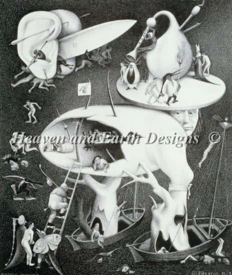 Hieronymus Bosch / Maurits Cornelis Escher(ヒエロニムス・ボス/マウリッツ・コルネリス・エッシャー) 名画 【地獄-Hell-】  美術 絵画 芸術作品 HAED クロスステッチ刺しゅう 図案 Heaven And Earth Designs 輸入 チャート クロスステッチ手芸雑貨シーボンヌ 刺繍 専門店 通販 販売 サイト