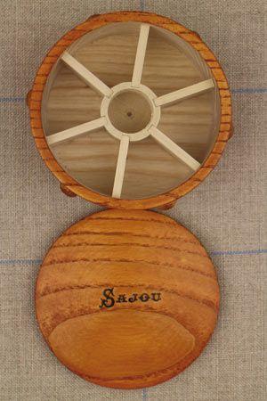 Boîte ronde en bois pour bobines miniature