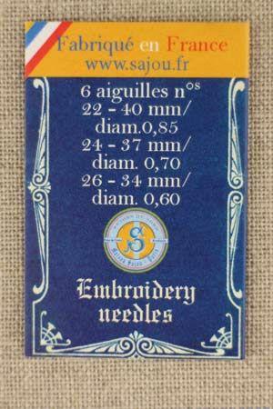 Sajou 先丸針(6本セット)クロスステッチ Six aiguilles à broder numéros 22, 24 et 26 - carnet Album bleu サジュー フランス メゾンサジュー AIG_CAR_BRO_SAJ_13