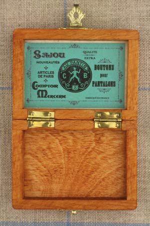 Sajou 木製ボックス Boîte en bois miniature étiquette verte