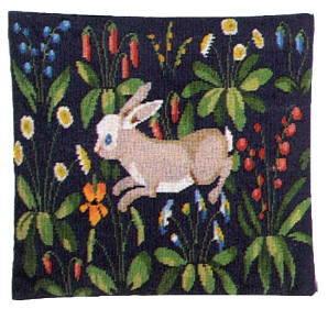 フレメ プチポワン刺繍キット 輸入 Kaninpude uldgarm ウサギのクッション ST.18  Haandarbejdets Fremme デンマーク 北欧 刺しゅう 上級者 20-0352 20-352