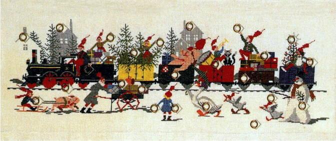 フレメ クロスステッチ輸入刺しゅうキット Juletog クリスマスの列車に乗って Haandarbejdets Fremme デンマーク刺繍 北欧 10B  VH 上級者 34-6103 クロスステッチ手芸雑貨シーボンヌ 専門店 通販サイト 販売