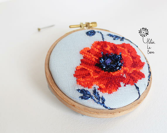 Helene Le Berre 刺しゅう Kit de Broderie Rouge COQUELICOT - Embroidery Kit RED POPPY キット フランス 刺しゅう