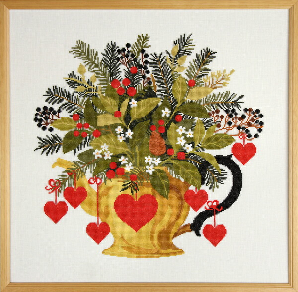 EVA ROSENSTAND 真鍮製の水差し Brass jug クロスステッチ キット デンマーク 北欧 刺しゅう 08-3991 手芸雑貨シーボンヌ 専門店 通販 販売 サイト 図案 刺繍布 糸 エバローゼンスタンド エヴァローゼンスタンド