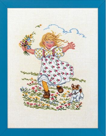 EVA ROSENSTAND 花と少女 Pige med blomst og... クロスステッチ キット デンマーク 北欧 刺しゅう 12-991