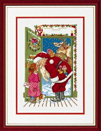 EVA ROSENSTAND ドアの中のサンタクロース Santa in the door クロスステッチ キット デンマーク 北欧 刺しゅう 14-100