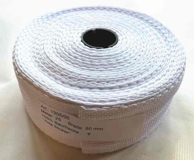 クロスステッチ 刺しゅう リボンテープ 16ct 5cm幅 1m Aida ホワイト Permin of Copenhagen(ペルミン) デンマーク 北欧 1305/00