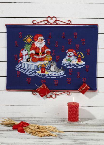 PERMIN 氷の上のサンタクロース Santa on the ice ペルミン クロスステッチ キット デンマーク 北欧 刺しゅう 34-7259