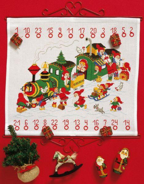 PERMIN クリスマス・トレイン Juletoget ペルミン クロスステッチ キット デンマーク 北欧 刺しゅう 34-8225