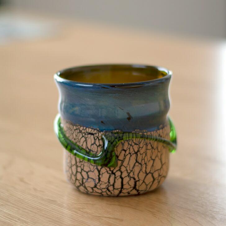 稲嶺盛一郎作 琉球ガラス オーロラ土紋ロックグラス