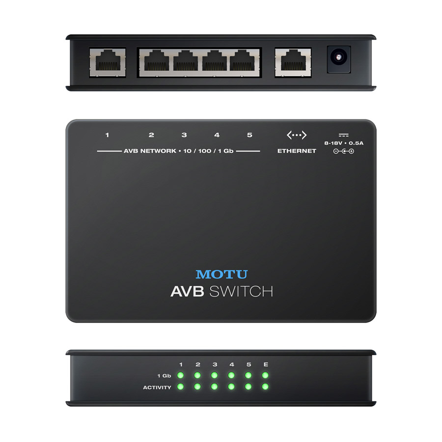 MOTU ネットワーク拡張 スイッチ AVB Switch モツ リアパネル画像