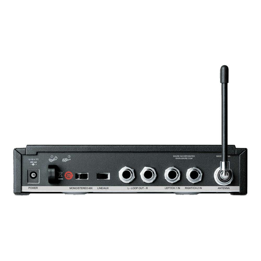 SHURE ワイヤレスシステム ボディパック型 受信機 P3R リアパネル画像