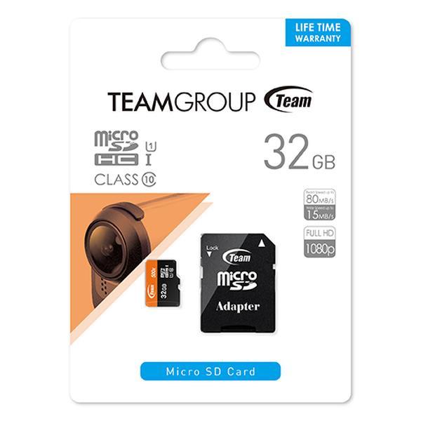 Team チーム MicroSD SDHC UHS-1 Class10 10年保証 32GB SDカード変換アダプタ付き 型番 TUSDH32GUHS03<br>スマートフォン、タブレット等の対応機器で御使用頂けます<
