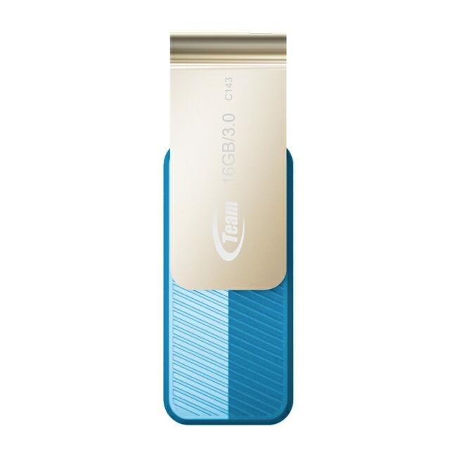Team 16GB 型番 TC143316GL01 USB3.0 フラッシュメモリー 回転式USBを採用 キャップレス Color series C143 ブルー 保証1年<br>スマートフォン、タブレット等の対応機器で御使用頂けます<