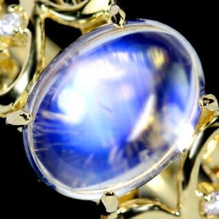 K18 ムーンストーンリング 0.01ctダイヤモンド