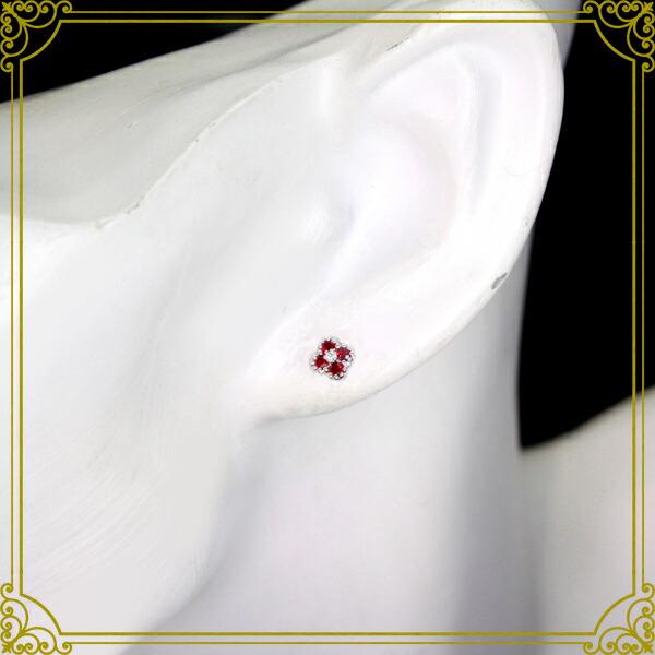 K18WG ビルマ産ルビー ピアス 0.29ct 0.01ct ダイヤモンド ダイヤ【送料無料】