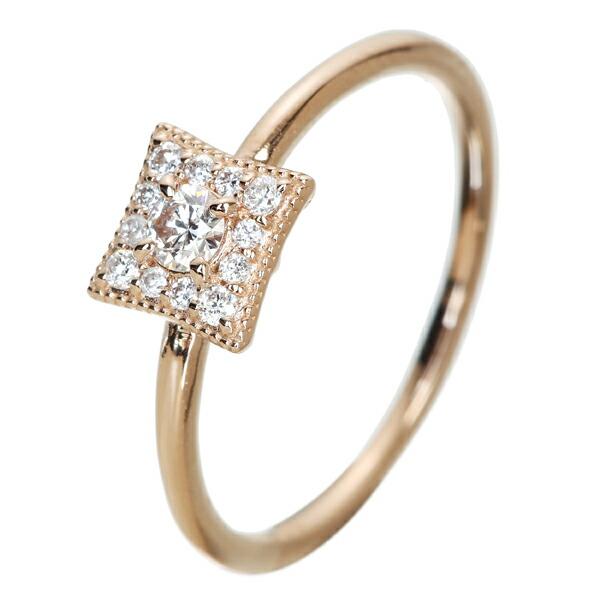 ダイヤモンド 0.09ct リング ダイヤモンド 0.07ct K18PG