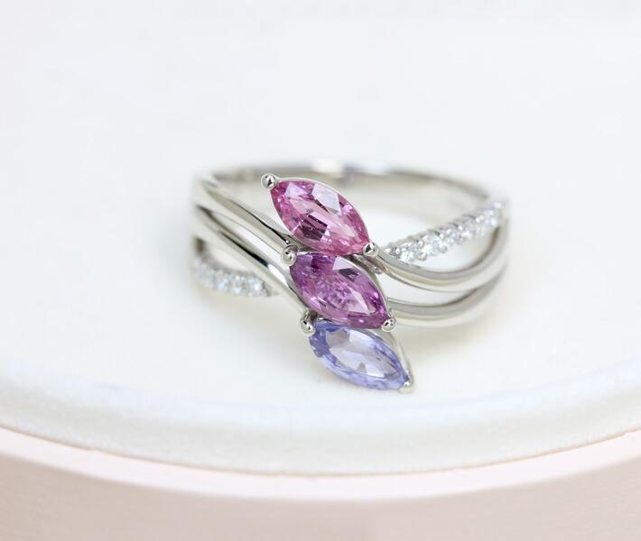 非加熱マルチカラーサファイア リング 1.47ct/ダイヤモンド 0.18ct PT900