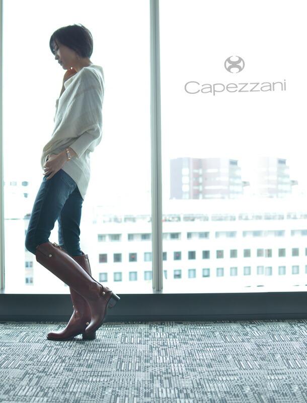 「非の打ちどころのないレザー」と称賛された、イタリアブランド「Capezzani」カペッツアーニ レザー ジョッキーブーツ/乗馬ブーツ/ロングブーツ/バックファスナー/本革/ローヒール/美脚/黒/ブラック/キャメル/インポート/ブランド/レディース/靴/ モデル写真 ブラッキャート/キャメル/ブラウン
