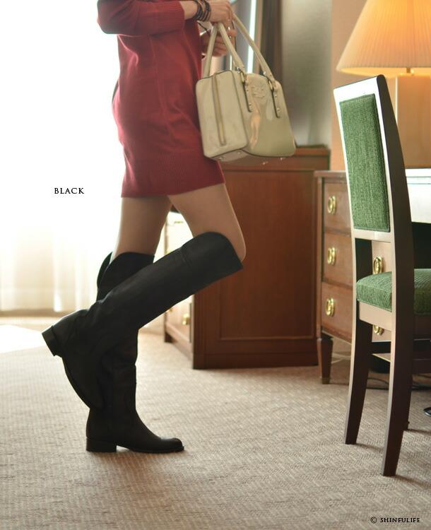 コルソローマ9 ローヒール本革ニーハイブーツ モデル写真 ブラック/黒