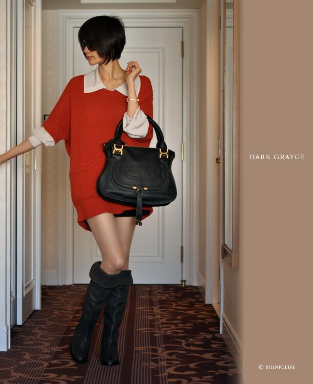 コルソローマ9 ローヒール本革ニーハイブーツ モデル写真 ダークグレージュ