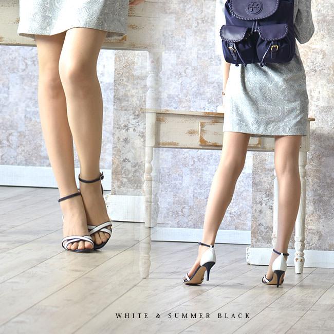 CORSO ROMA 9 コルソローマ 9  レザー ヒールサンダル バイカラー 7cm ホワイト ハラコ 華奢 取扱店舗 モデル写真 ホワイト×サマーブラック