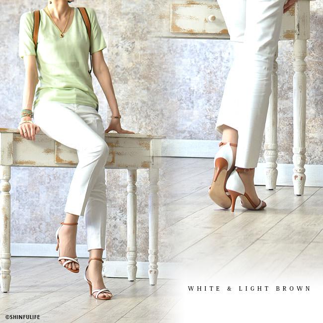 CORSO ROMA 9 コルソローマ 9  レザー ヒールサンダル バイカラー 7cm ホワイト ハラコ 華奢 取扱店舗 モデル写真 ホワイト×ライトブラウン