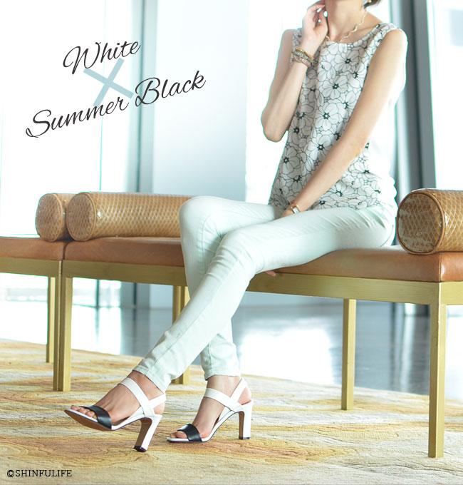 セレブが愛するブランドと同じ品質を手に入れる【CORSO ROMA9】コルソローマ9 イタリア製 レザーサンダル モデル画像 ホワイト/サマーブラック