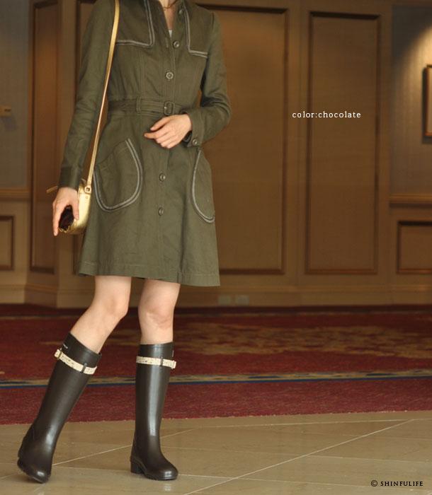フォックスアンブレラ×リバティー!イギリス王室御用達ブランド(Fox umbrellas)が生地の女王Libertyとコラボ/レディース/シューズ/レインブーツ/レイン/ラバー/雨靴/レインシューズ/長靴/ラバーシューズ/雨/雪/靴/ラバーブーツ/ロング/ロングブーツ/花柄/日本製/防水/ モデル画像・チョコレート茶