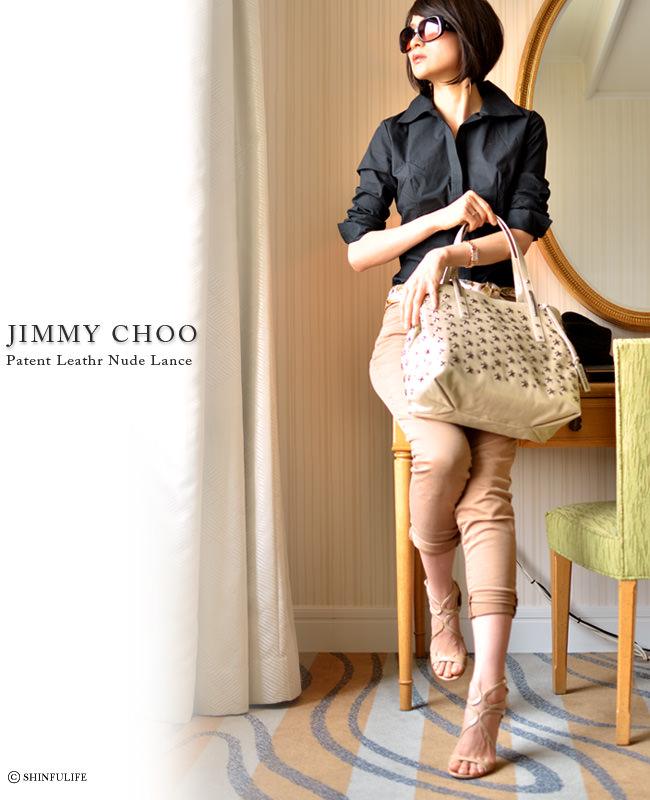[JIMMY CHOO]ジミーチュウ オープントゥ・ハイヒールサンダル ランス(LANCE) ランスサンダル/パンプス/ピンヒール/パテントレザー/ハイヒール サンダル /エナメル オープントゥ パンプス/靴/新作/正規品/ジミーチュー モデル着用写真