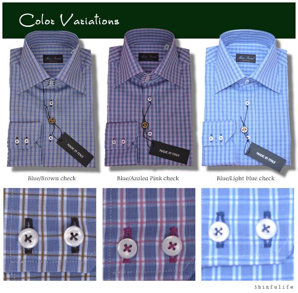 イタリア国内で特に高品質と認められたメンズシャツブランド Mario Ferrara/マリオ・フェラッラ/長袖 チェックシャツ/ビジネスシャツ/Yシャツ/ワイシャツ/フォーマル/ドレスシャツ/カジュアル/白/男性が喜ぶプレゼントにも最適/ターンブル&アッサーやバーバリー好きにも カラーバリエーション:ブルー&ブラウンチェック/ブルー&アザレアピンクチェック/ブルー&ライトブルーチェック