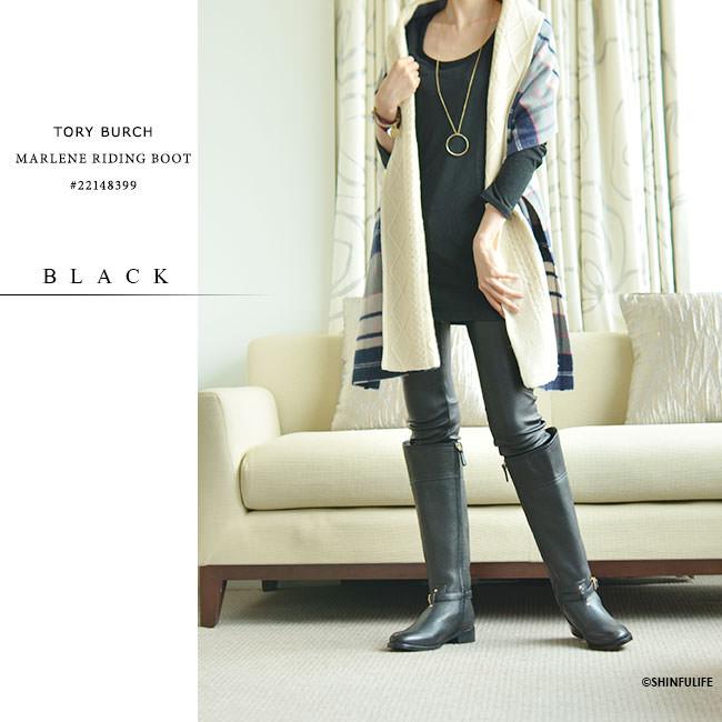 トリーバーチ ブーツ ロング ブーツ マレーネ ライディング ブーツ TORY BURCH 正規品 モデル画像 ブラック