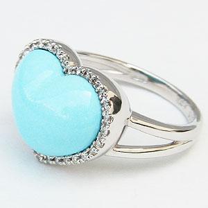 ターコイズリング トルコ石リング ハートリング ダイヤモンド 0.15ct K18ホワイトゴールド 指輪