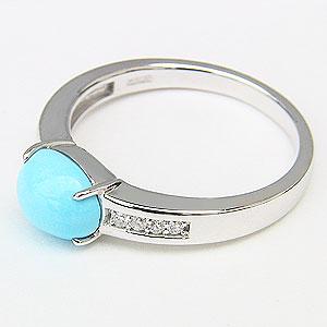 ターコイズ トルコ石 リング ダイヤモンド 0.08ct ホワイトゴールド 指輪