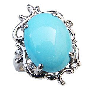 ターコイズリング トルコ石リング ダイヤモンド 0.05ct K18ホワイトゴールド 指輪