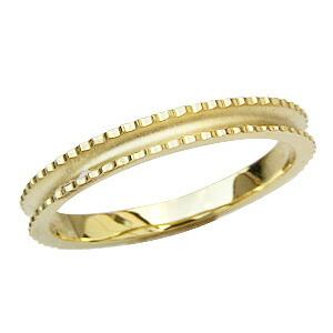 地金リング シンプル 指輪 K18 ゴールド デザインカットリング 宝石なし指輪 メンズリング 男性用指輪