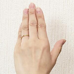 地金メンズリング シンプル 男性用指輪 K18 ゴールド デザインカットリング 宝石なし指輪