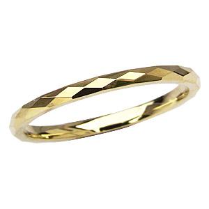 地金リング シンプル 男性用指輪 K18 ゴールド デザインカットリング 宝石なし指輪 メンズリング