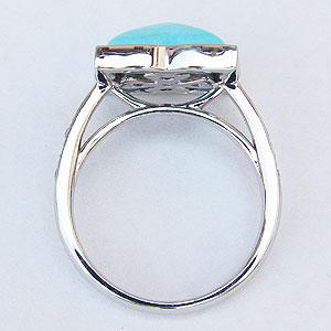 ターコイズリング トルコ石リング ダイヤモンド 0.08ct ホワイトゴールド 指輪 ターコイズブルー