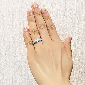 ターコイズリング トルコ石リング K18 ホワイトゴールド 指輪 ターコイズブルー