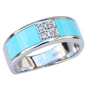 ターコイズ トルコ石 リング ダイヤモンド 0.04ct ホワイトゴールド 指輪 12月誕生石