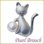 ブローチ パール あこや真珠 猫 ピンブローチ ラペルピン シルバー