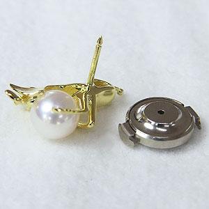 パール ピンブローチ あこや本真珠 K18 ゴールド 真珠の径7mm ホワイトピンク系 きりぎりす キリギリス 弦楽器 ダイヤモンド 2石 0.01ct ブローチ